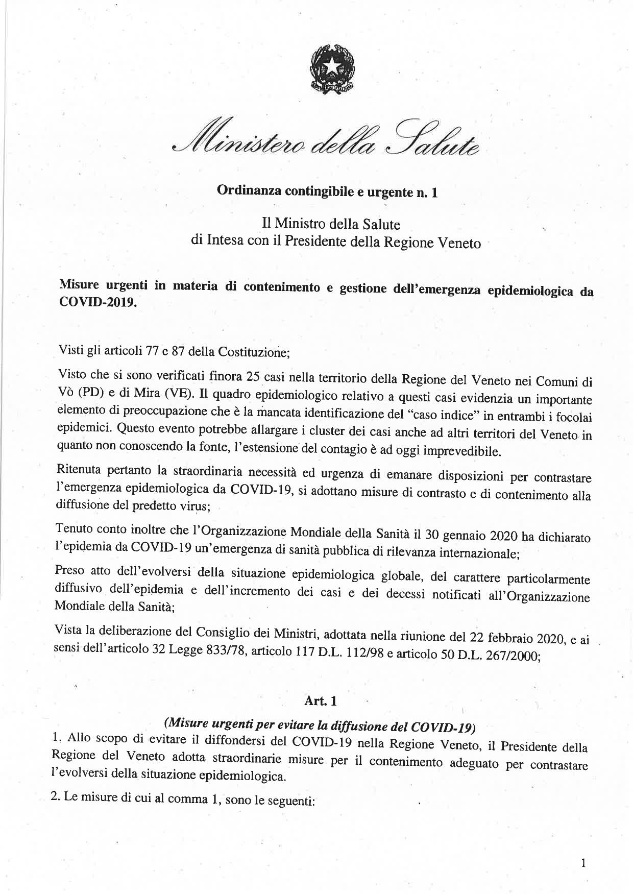 Ordinanza n. 1 23.02.2020 - 1