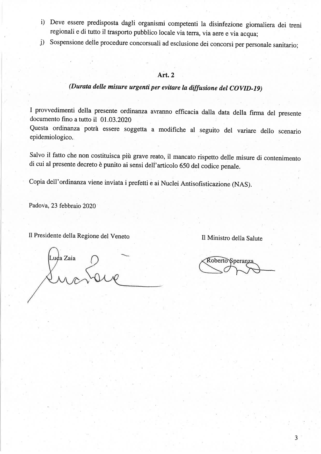 Ordinanza n. 1 23.02.2020